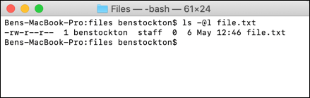 The ls command at the macOS terminal