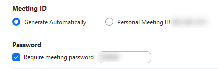Meeting ID and password options