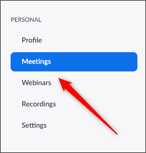 Meetings tab in Zoom web portal