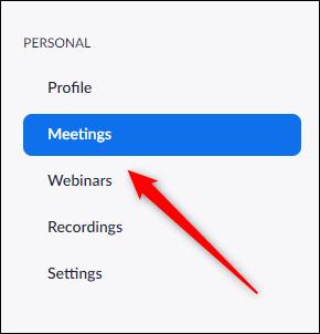 แท็บการประชุมในเว็บพอร์ทัล Zoom