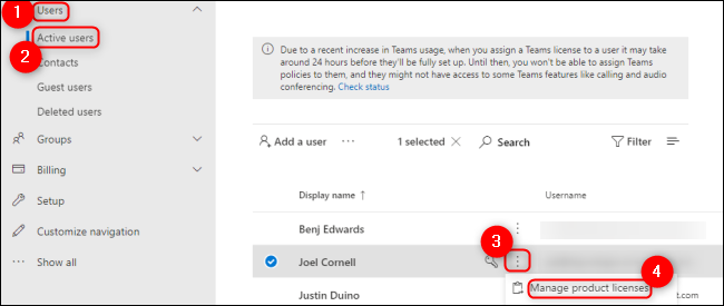 Microsoft Admin Center Manage Active Users