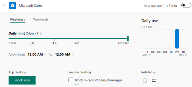 Microsoft Family Group App and Game Limits for Windows 10