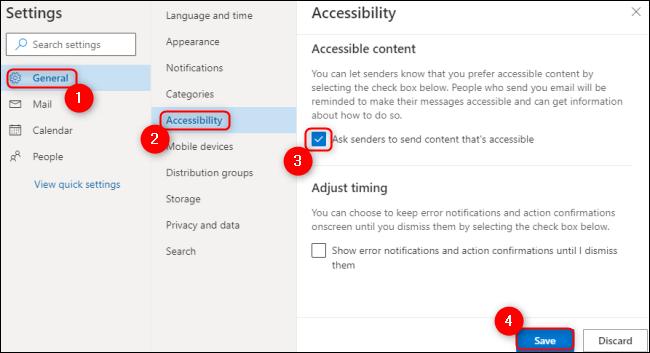 Microsoft Outlook proporciona contenido accesible