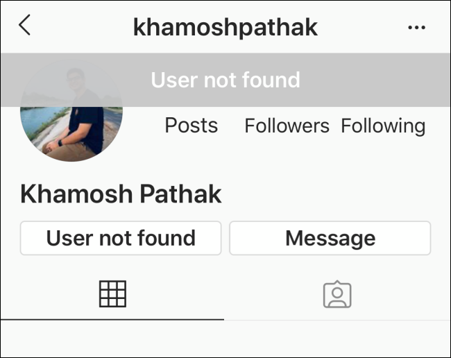 No details on profile page for Instagram profile that has blocked you