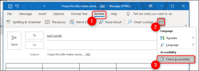 Outlook Accessbility Checker Under Review Tab