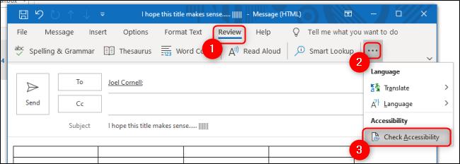 Comprobador de accesibilidad de Outlook en la pestaña Revisión
