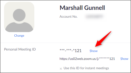 Personal Meeting ID in profile