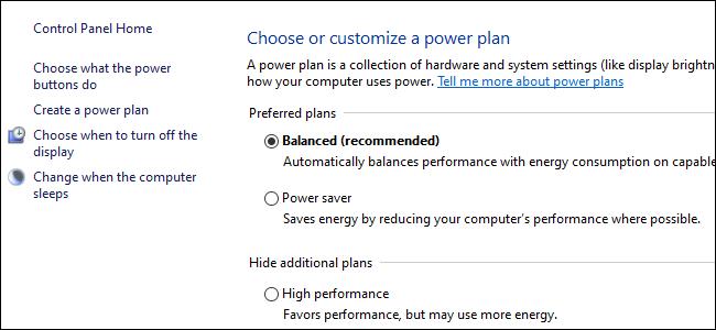 Tres botones de radio que muestran las opciones del plan de energía en el Panel de control de Windows 10