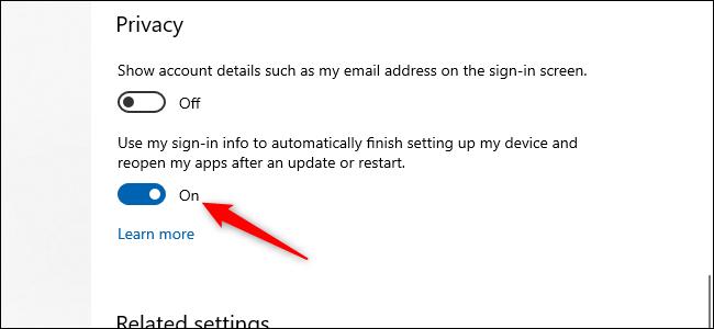 Un botón deslizante de encendido / apagado de Windows 10 con una flecha roja apuntando hacia él