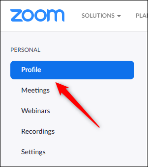 Profile tab in Zoom account