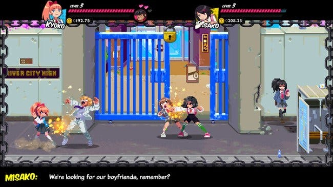 """The """"River City Girls"""" fighting opponents."""