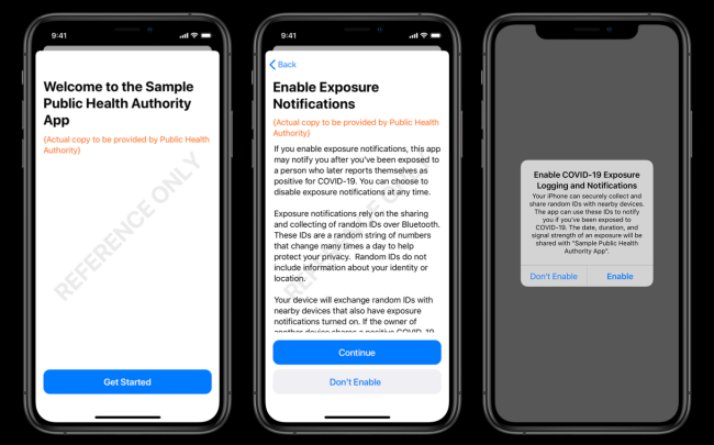 Sample COVID-19 App on iPhone