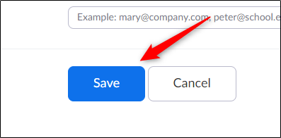 Save button for schedule meetings