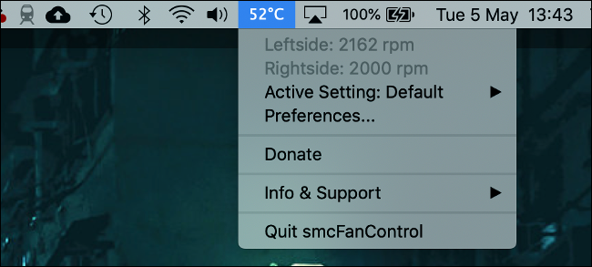 smcFanControl for macOS with Temperature Display