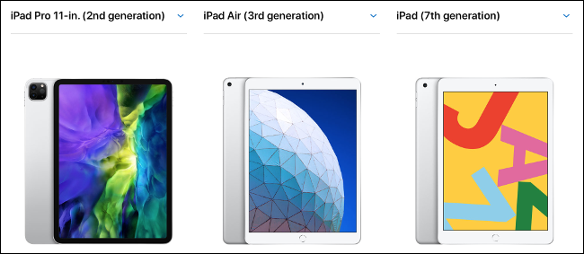 An iPad, iPad Air, and iPad Pro 11-inch, side-by-side comparison.