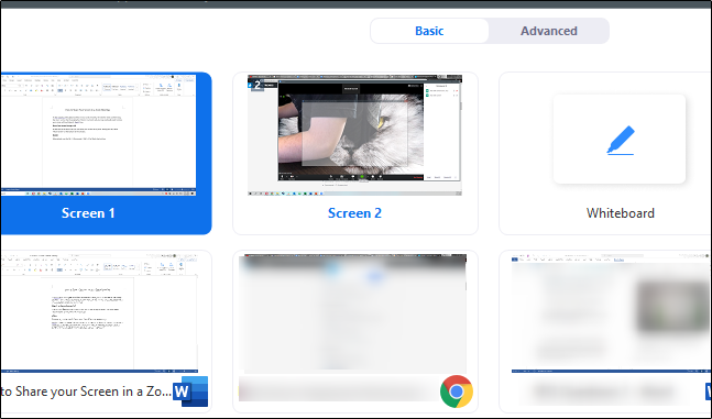 Screen selection for sharing your screen