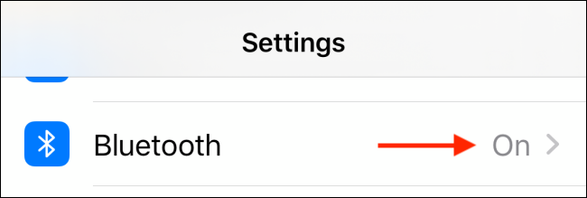 Select Bluetooth from Settings app