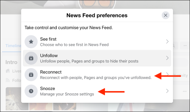 Select Unfollow or Snooze to manage options