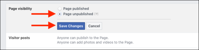 Select Unpublish and then Click on Save Changes