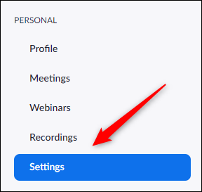 Settings tab in the left hand pane of the Zoom Portal