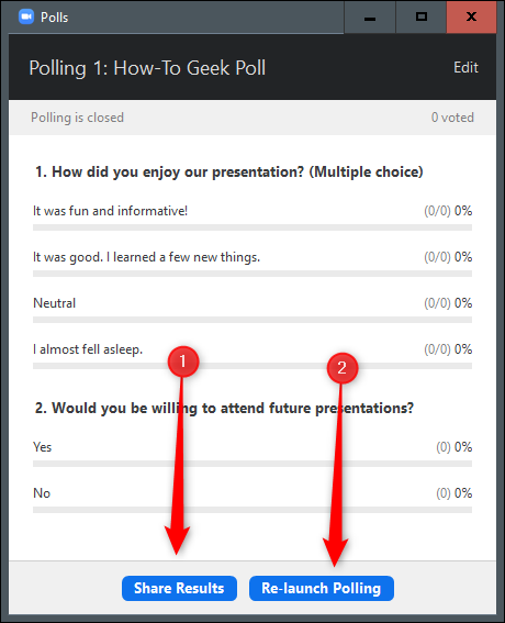 Share results or re-launch polling buttons