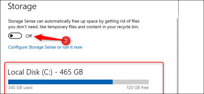 Windows 10 Storage settings. A blue bar graph indicating amount of storage used