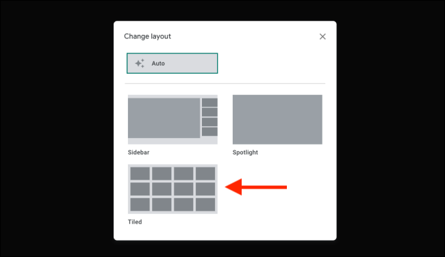 Switch to Tiled view in Google Meet