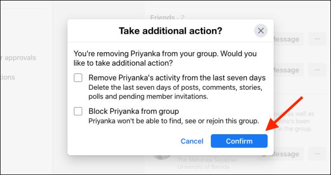 Toque Confirmar para eliminar un miembro del grupo de Facebook