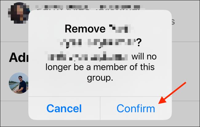 Toque Confirmar para eliminar usuario