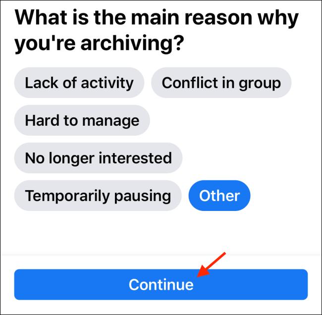 Toque Continuar en la página Archivo
