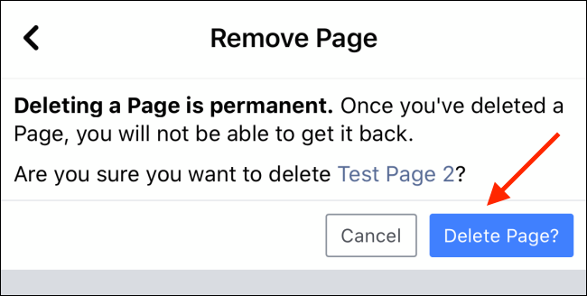 Tap Delete Page button to Delete your Facebook Page