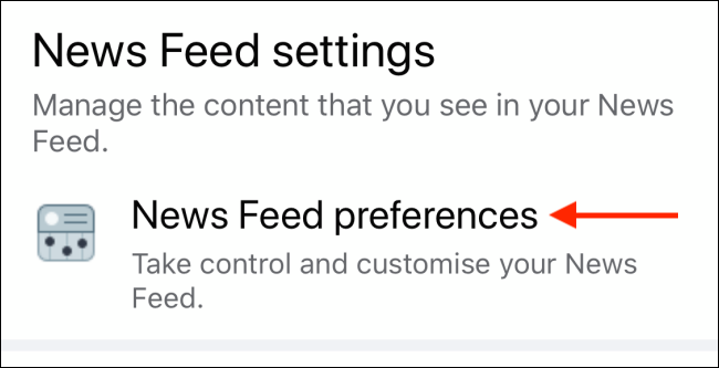 Tap News Feed Preferences on Facebook mobile app