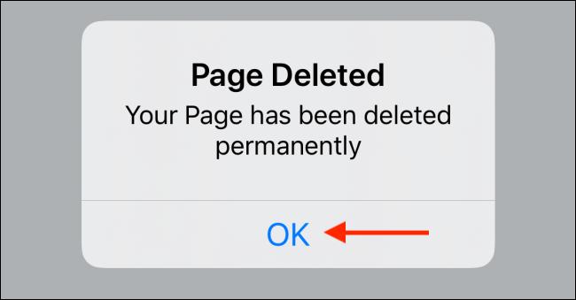 Tap OK button in Facebook app