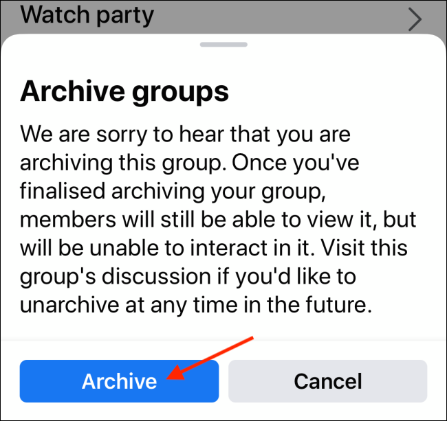 Tap on Archive to confirm