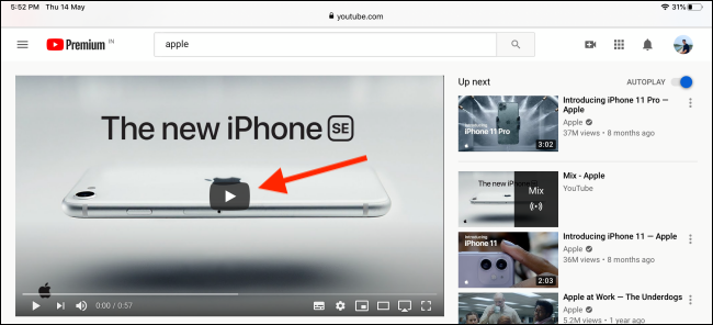 Tap on Play button to play the video in Safari