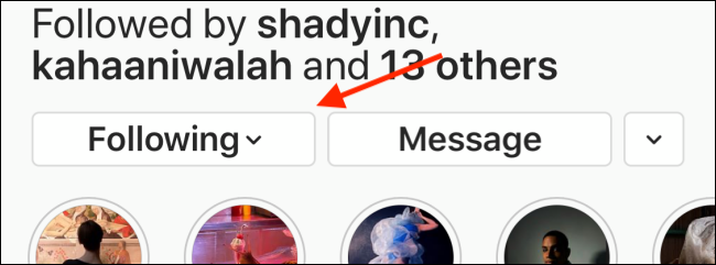 Tap the Following button on Instagram profile