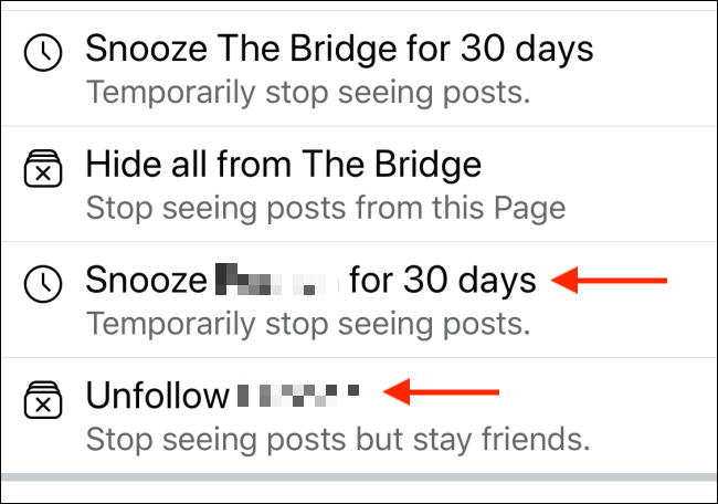 Tap to Snooze or Unfollow Facebook user
