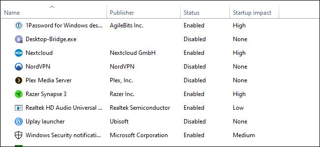 El Administrador de tareas de Windows 10, lista de cuatro columnas de texto sobre un fondo blanco