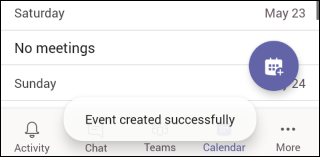 Team Mobile Event Created Successfully