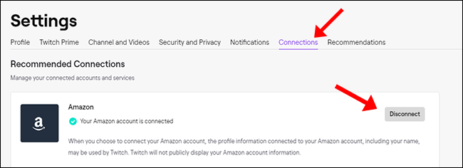 Twitch Settings Disconnect