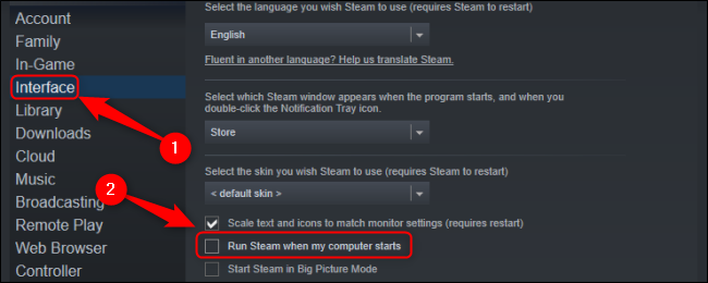 Uncheck Run Steam When My Computer Starts