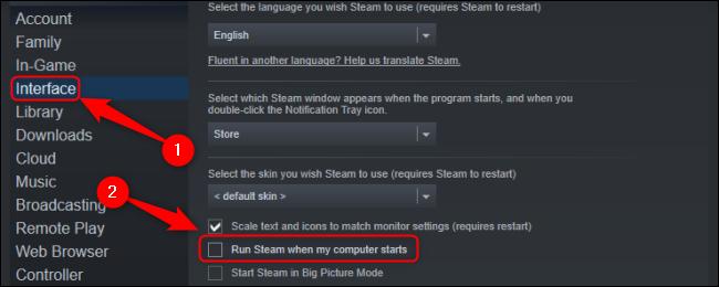 Uncheck Run Steam When My Computer Starts