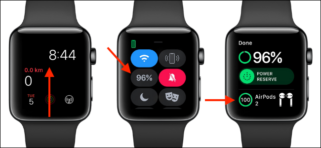 Use Control Center on Apple Watch to see AirPods battery life