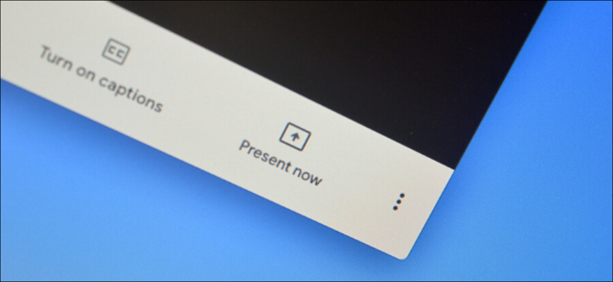 """The """"Present Now"""" option to share a screen on Google Meet."""