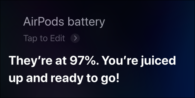 Using Siri to check AirPods battery on iPhone