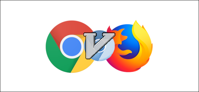 "A ""V"" over the blue Chromium, Chrome, and Firefox logos."