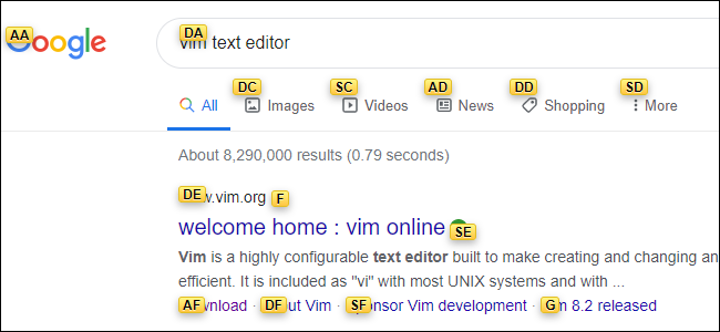 A Google results page with each link overlaid with a yellow label each containing two letters.