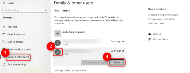Windows 10 Allow Child User