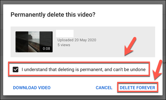 Deleting a YouTube Video permanently