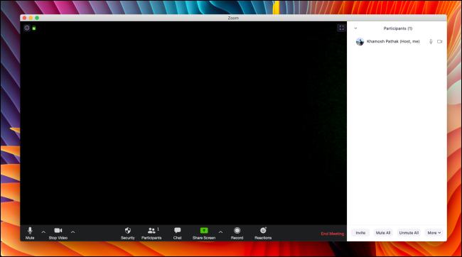 Zoom Call interface on Mac